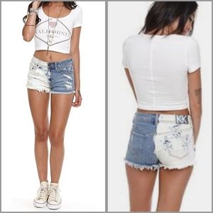 KENDALL & KYLIE two tone bleached high rise shorts